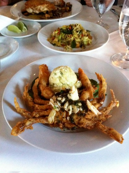 Fried Soft Shell Crab with Crabmeat and Meuni�re Sauce