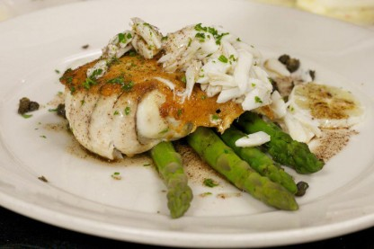 Parmesan Crusted Drum with Fresh Louisiana Jumbo Lump crab, asparagus
